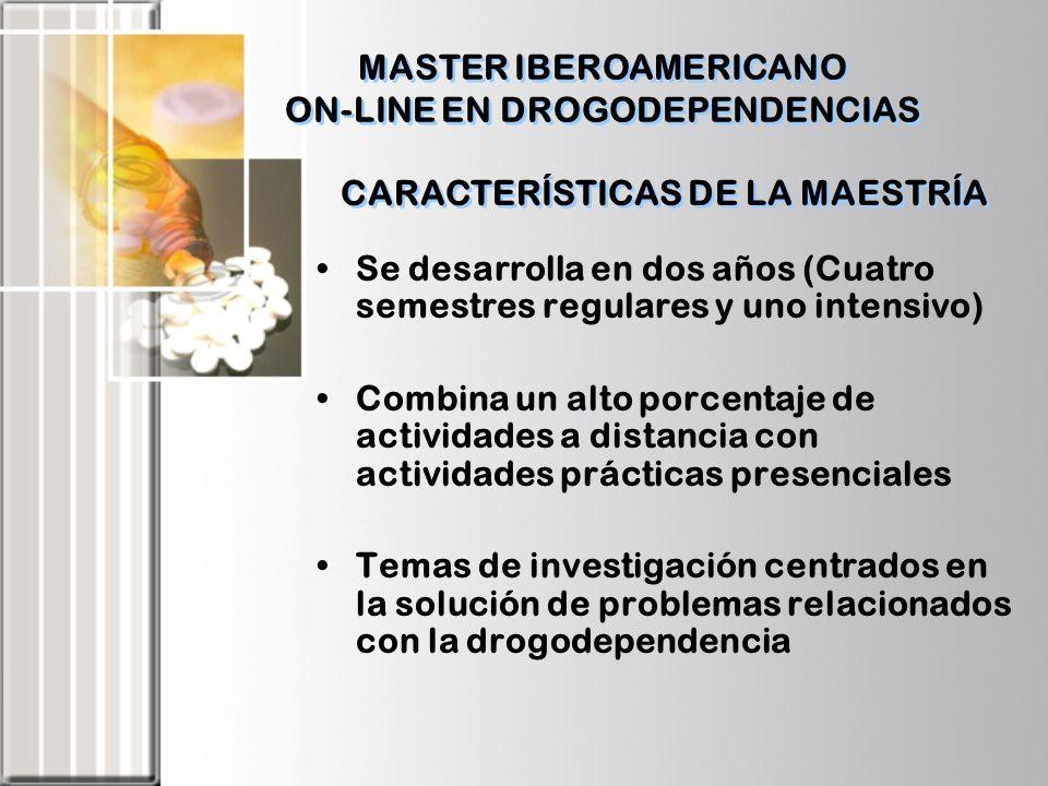 CARACTERÍSTICAS DE LA MAESTRÍA Se desarrolla en dos años (Cuatro semestres regulares y uno intensivo) Combina un alto porcentaje de actividades a dist