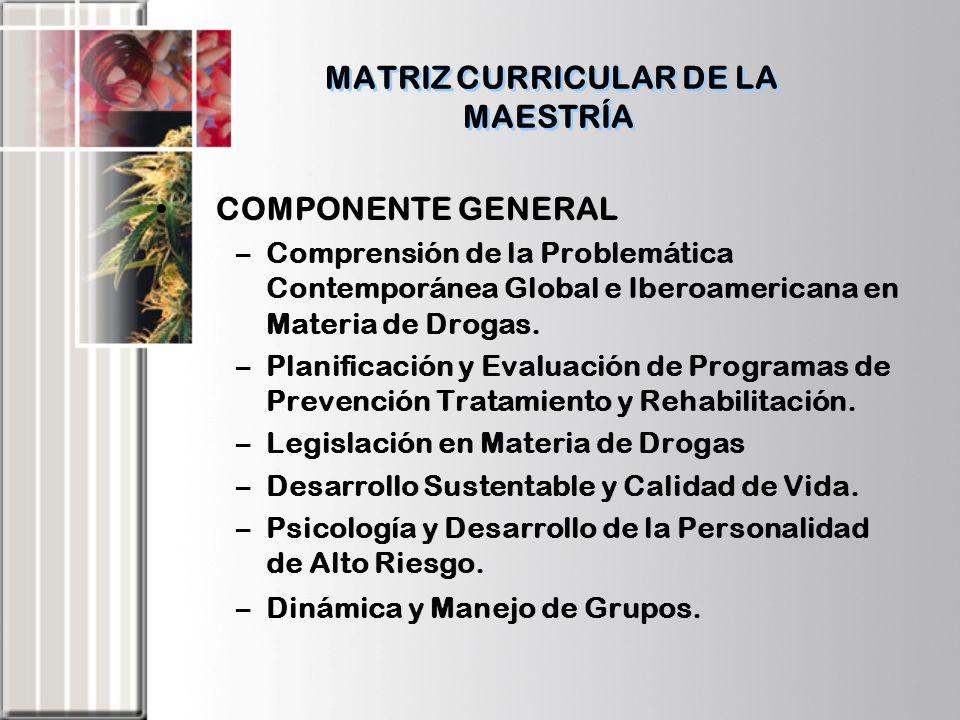 MATRIZ CURRICULAR DE LA MAESTRÍA COMPONENTE GENERAL –Comprensión de la Problemática Contemporánea Global e Iberoamericana en Materia de Drogas. –Plani