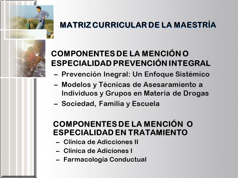 MATRIZ CURRICULAR DE LA MAESTRÍA COMPONENTE PASANTÍA –Pasantía: Mención Prevención Integral –Pasantía: Mención Tratamiento COMPONENTE INVESTIGACIÓN –Proyecto I –Proyecto II –Tesis de Grado