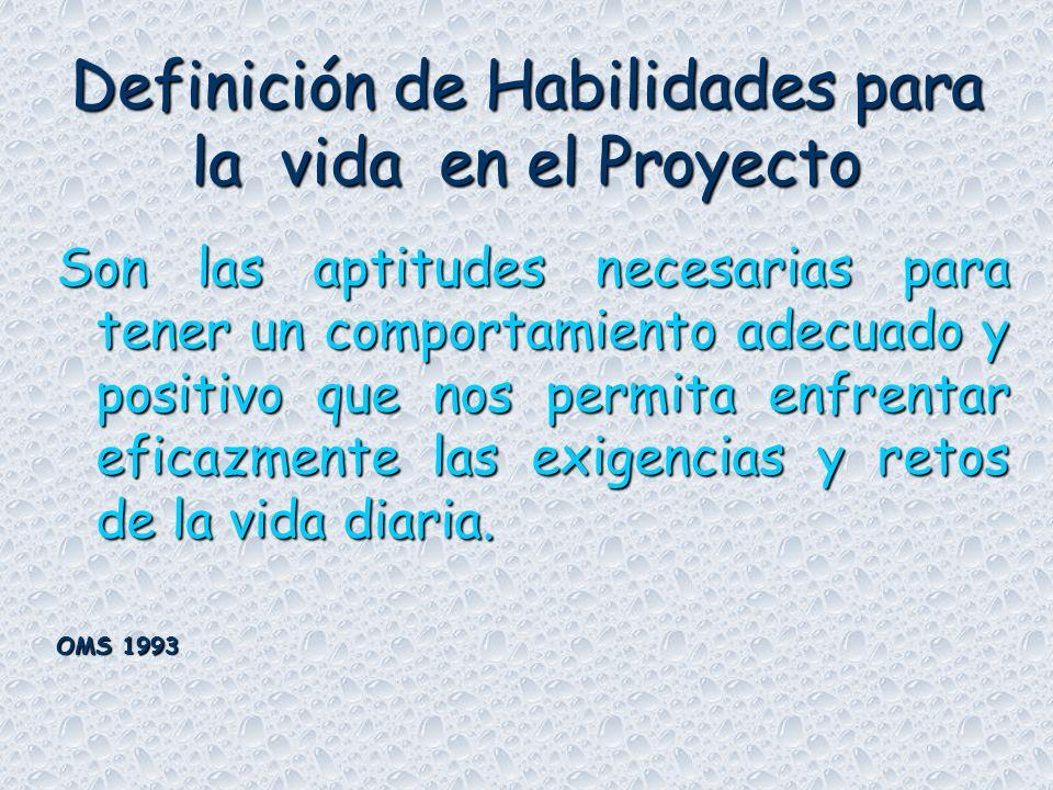 Definición de Habilidades para la vida en el Proyecto Son las aptitudes necesarias para tener un comportamiento adecuado y positivo que nos permita enfrentar eficazmente las exigencias y retos de la vida diaria.