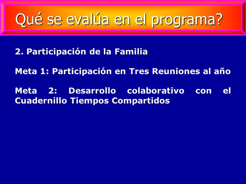 2. Participación de la Familia Meta 1: Participación en Tres Reuniones al año Meta 2: Desarrollo colaborativo con el Cuadernillo Tiempos Compartidos Q