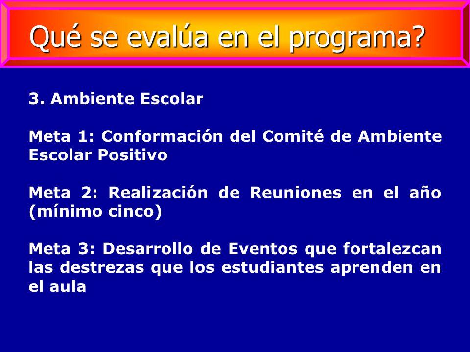 3. Ambiente Escolar Meta 1: Conformación del Comité de Ambiente Escolar Positivo Meta 2: Realización de Reuniones en el año (mínimo cinco) Meta 3: Des