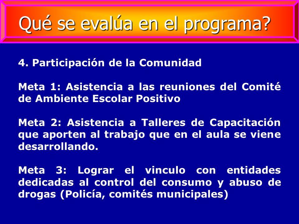4. Participación de la Comunidad Meta 1: Asistencia a las reuniones del Comité de Ambiente Escolar Positivo Meta 2: Asistencia a Talleres de Capacitac
