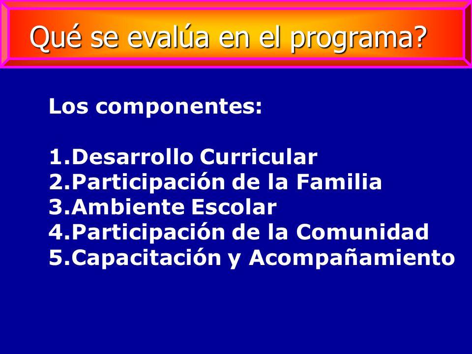 Los componentes: 1.Desarrollo Curricular 2.Participación de la Familia 3.Ambiente Escolar 4.Participación de la Comunidad 5.Capacitación y Acompañamie