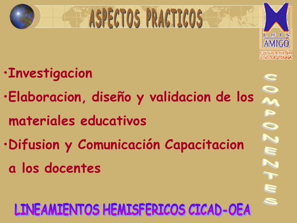 Investigacion Elaboracion, diseño y validacion de los materiales educativos Difusion y Comunicación Capacitacion a los docentes