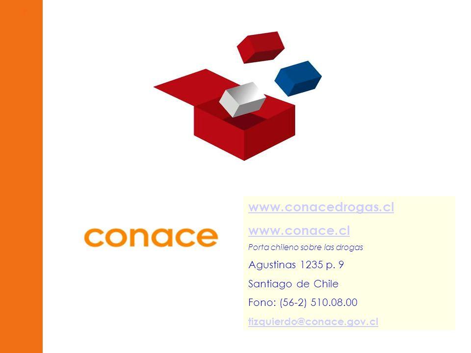 www.conacedrogas.cl www.conace.cl Porta chileno sobre las drogas Agustinas 1235 p. 9 Santiago de Chile Fono: (56-2) 510.08.00 tizquierdo@conace.gov.cl