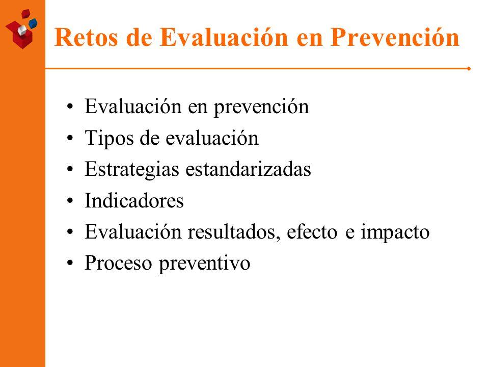 Retos de Evaluación en Prevención Evaluación en prevención Tipos de evaluación Estrategias estandarizadas Indicadores Evaluación resultados, efecto e