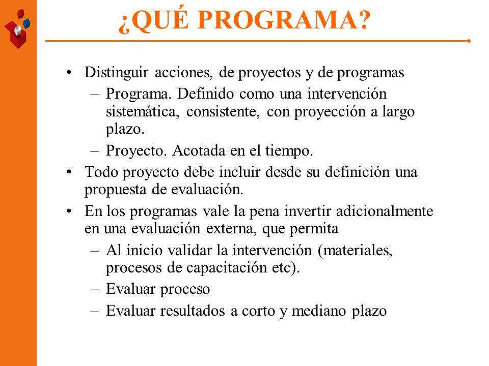 ¿QUÉ PROGRAMA? Distinguir acciones, de proyectos y de programas –Programa. Definido como una intervención sistemática, consistente, con proyección a l