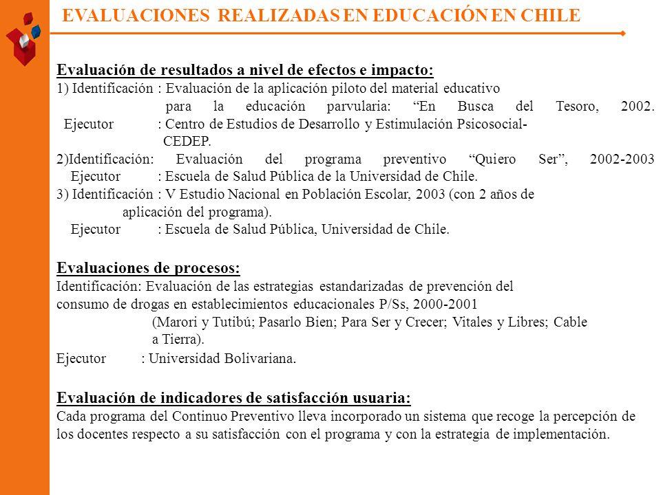 Evaluación de resultados a nivel de efectos e impacto: 1) Identificación : Evaluación de la aplicación piloto del material educativo para la educación