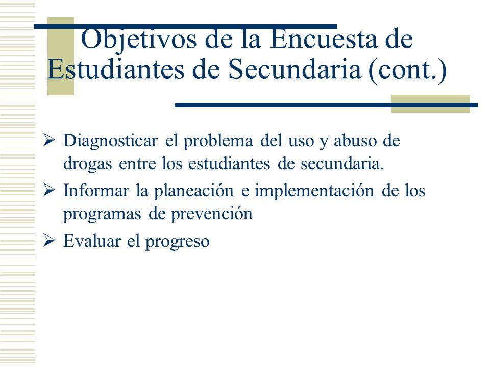 Objetivos de la Encuesta de Estudiantes de Secundaria (cont.) Diagnosticar el problema del uso y abuso de drogas entre los estudiantes de secundaria.