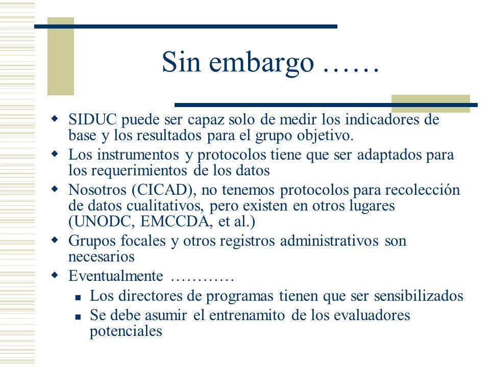 Sin embargo …… SIDUC puede ser capaz solo de medir los indicadores de base y los resultados para el grupo objetivo.