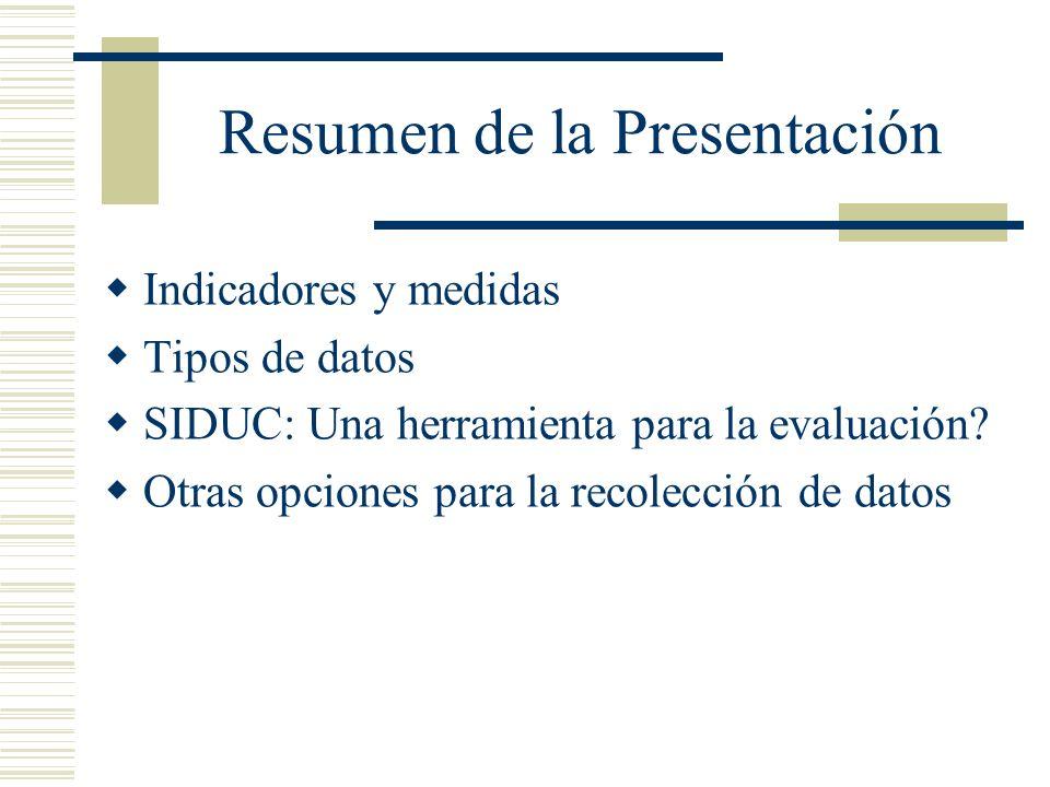 Resumen de la Presentación Indicadores y medidas Tipos de datos SIDUC: Una herramienta para la evaluación.