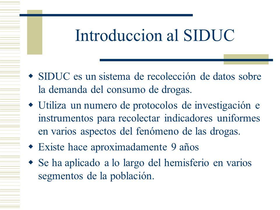 Introduccion al SIDUC SIDUC es un sistema de recolección de datos sobre la demanda del consumo de drogas.