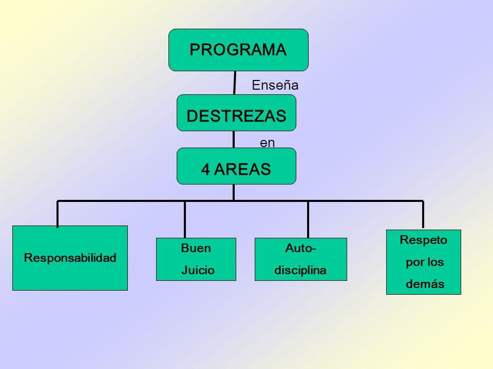 PROGRAMA DESTREZAS 4 AREAS en Responsabilidad Buen Juicio Respeto por los demás Auto- disciplina Enseña