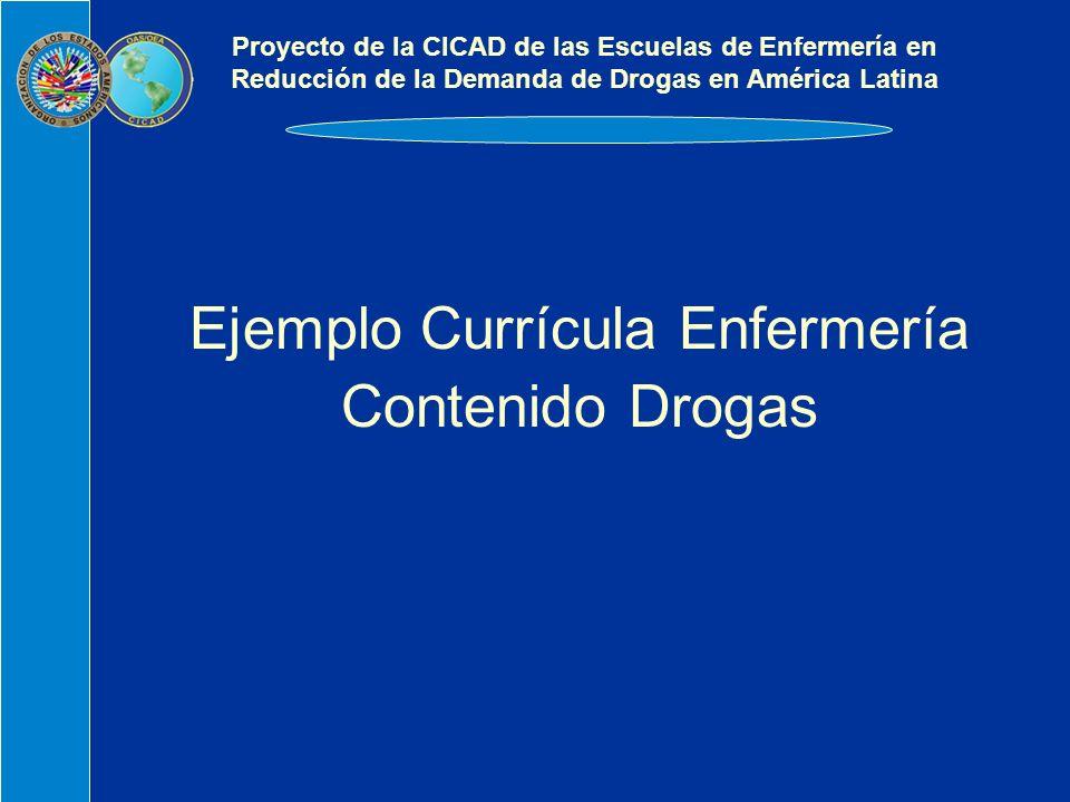 Ejemplo Currícula Enfermería Contenido Drogas Proyecto de la CICAD de las Escuelas de Enfermería en Reducción de la Demanda de Drogas en América Latina