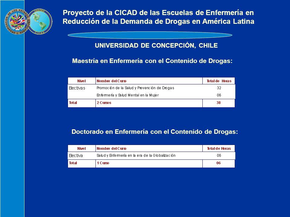 UNIVERSIDAD DE CONCEPCIÓN, CHILE Maestría en Enfermería con el Contenido de Drogas: Doctorado en Enfermería con el Contenido de Drogas: Proyecto de la CICAD de las Escuelas de Enfermería en Reducción de la Demanda de Drogas en América Latina