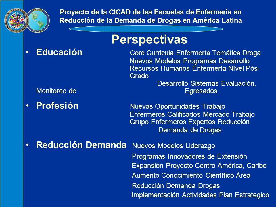 Perspectivas Educación Core Curricula Enfermería Temática Droga Nuevos Modelos Programas Desarrollo Recursos Humanos Enfermería Nível Pós- Grado Desarrollo Sistemas Evaluación, Monitoreo de Egresados Profesión Nuevas Oportunidades Trabajo Enfermeros Calificados Mercado Trabajo Grupo Enfermeros Expertos Reducción Demanda de Drogas Reducción Demanda Nuevos Modelos Liderazgo Programas Innovadores de Extensión Expansión Proyecto Centro América, Caribe Aumento Conocimiento Científico Área Reducción Demanda Drogas Implementación Actividades Plan Estrategico Proyecto de la CICAD de las Escuelas de Enfermería en Reducción de la Demanda de Drogas en América Latina