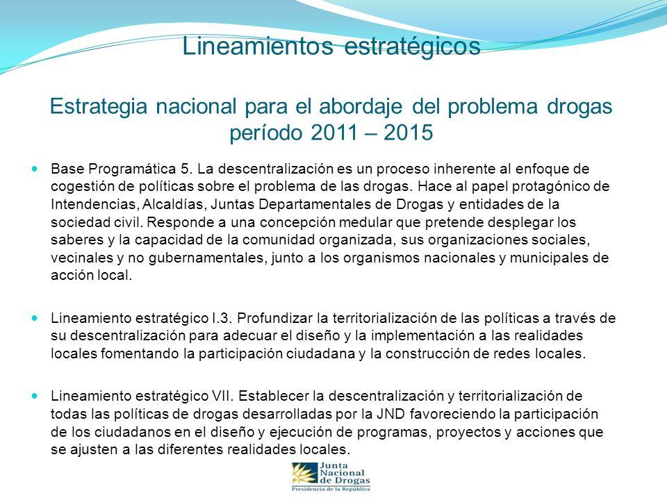 Lineamientos estratégicos Estrategia nacional para el abordaje del problema drogas período 2011 – 2015 Base Programática 5. La descentralización es un
