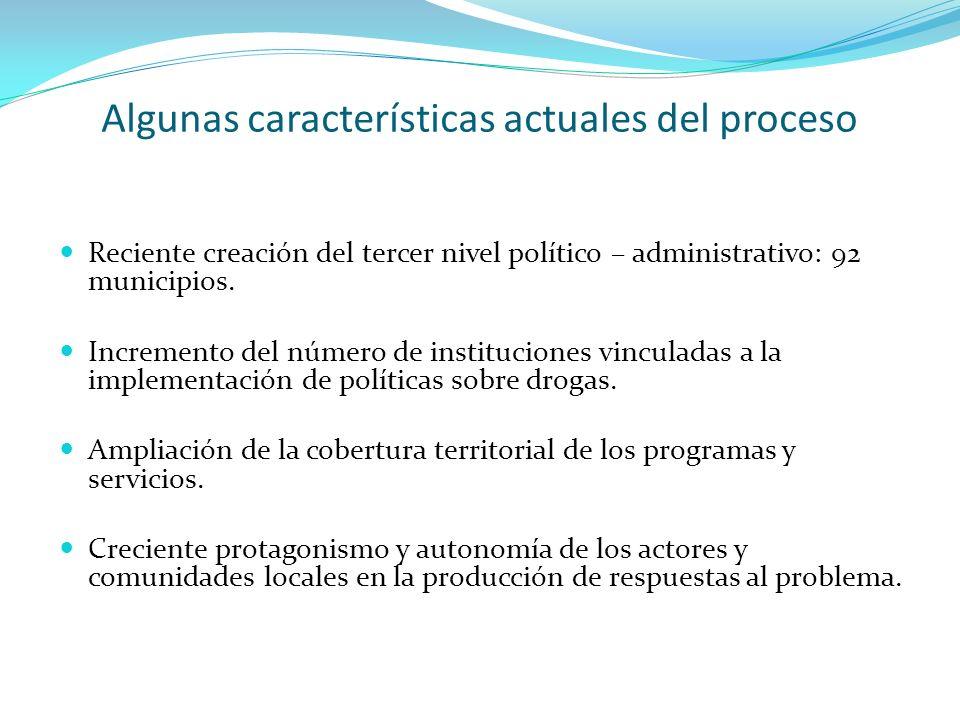 Algunas características actuales del proceso Reciente creación del tercer nivel político – administrativo: 92 municipios. Incremento del número de ins