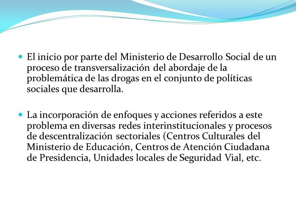 El inicio por parte del Ministerio de Desarrollo Social de un proceso de transversalización del abordaje de la problemática de las drogas en el conjun