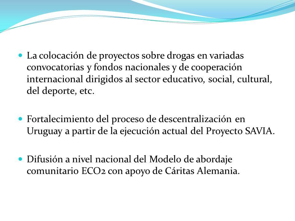 La colocación de proyectos sobre drogas en variadas convocatorias y fondos nacionales y de cooperación internacional dirigidos al sector educativo, so