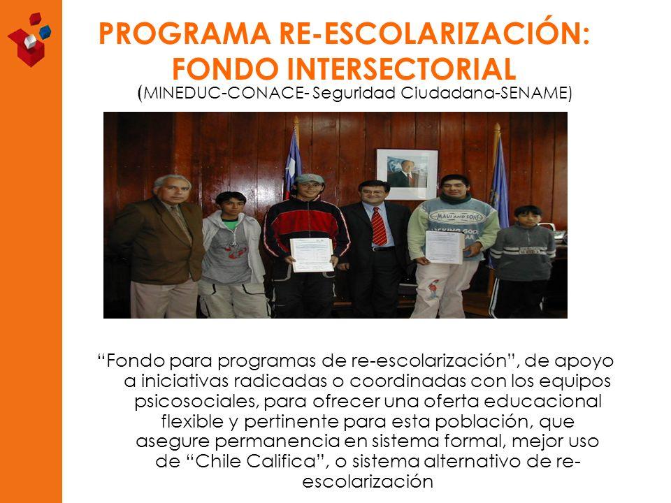 PROGRAMA RE-ESCOLARIZACIÓN: FONDO INTERSECTORIAL ( MINEDUC-CONACE- Seguridad Ciudadana-SENAME) Fondo para programas de re-escolarización, de apoyo a i