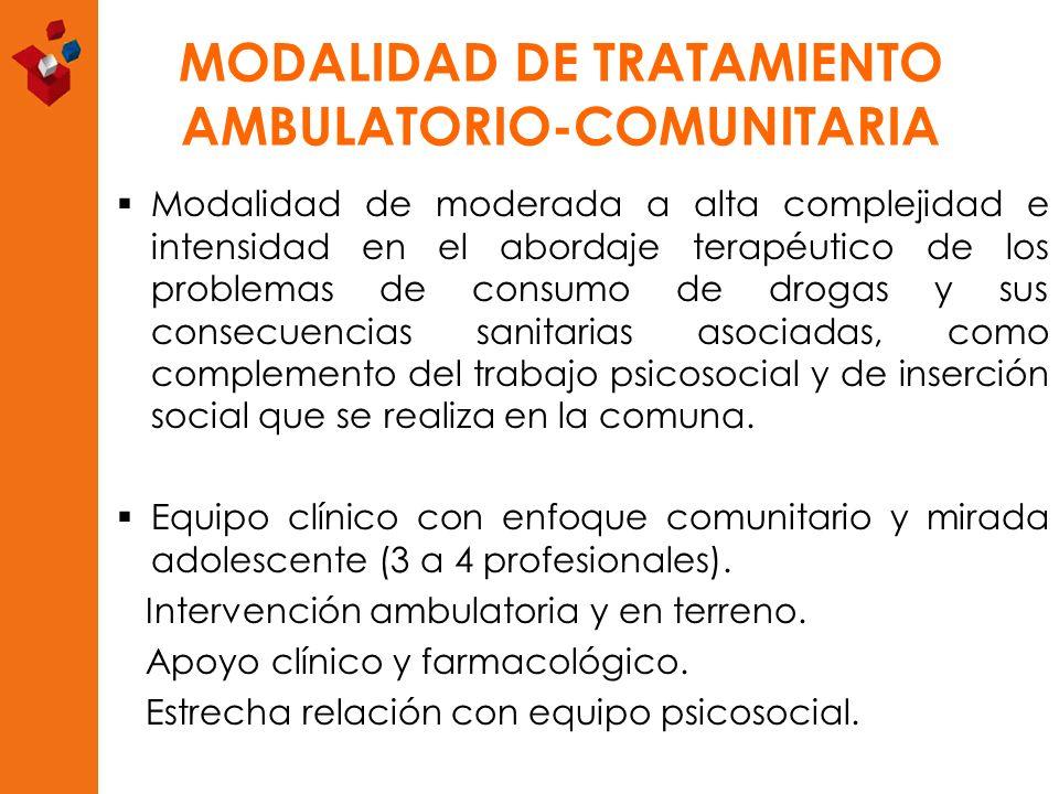 MODALIDAD DE TRATAMIENTO AMBULATORIO-COMUNITARIA Modalidad de moderada a alta complejidad e intensidad en el abordaje terapéutico de los problemas de