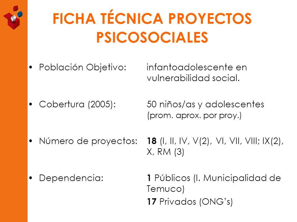 FICHA TÉCNICA PROYECTOS PSICOSOCIALES Población Objetivo: infantoadolescente en vulnerabilidad social. Cobertura (2005):50 niños/as y adolescentes ( p
