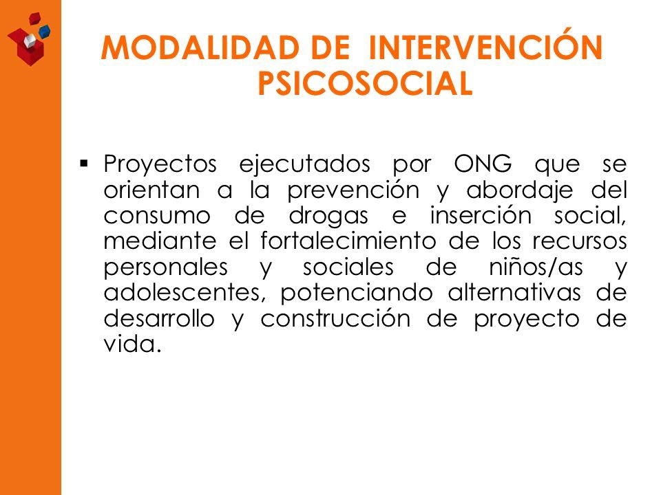 MODALIDAD DE INTERVENCIÓN PSICOSOCIAL Proyectos ejecutados por ONG que se orientan a la prevención y abordaje del consumo de drogas e inserción social