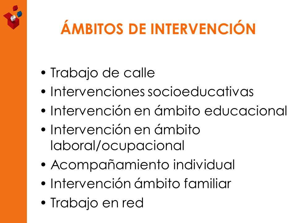 ÁMBITOS DE INTERVENCIÓN Trabajo de calle Intervenciones socioeducativas Intervención en ámbito educacional Intervención en ámbito laboral/ocupacional