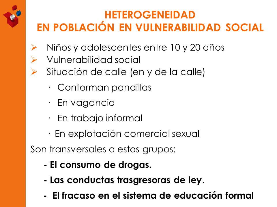 HETEROGENEIDAD EN POBLACIÓN EN VULNERABILIDAD SOCIAL Niños y adolescentes entre 10 y 20 años Vulnerabilidad social Situación de calle (en y de la call