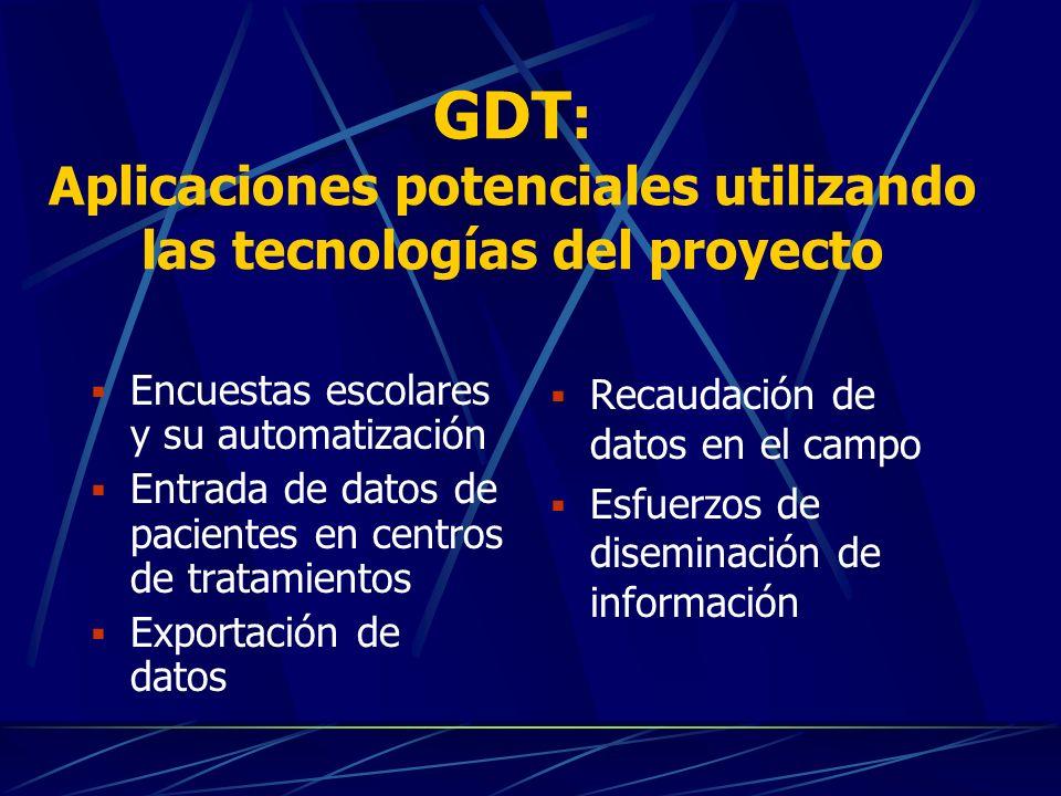 GDT : Los beneficiados Consejos Nacionales de Drogas Ministerios nacionales CICAD MEM Agencias de otros estados miembros de la OEA