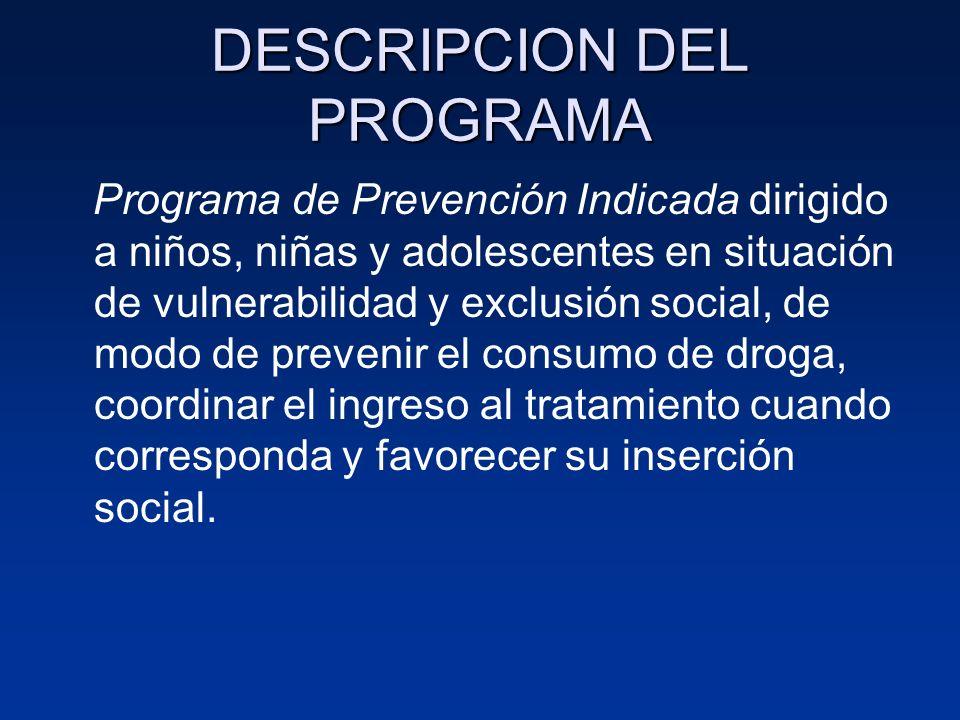 DESCRIPCION DEL PROGRAMA Programa de Prevención Indicada dirigido a niños, niñas y adolescentes en situación de vulnerabilidad y exclusión social, de
