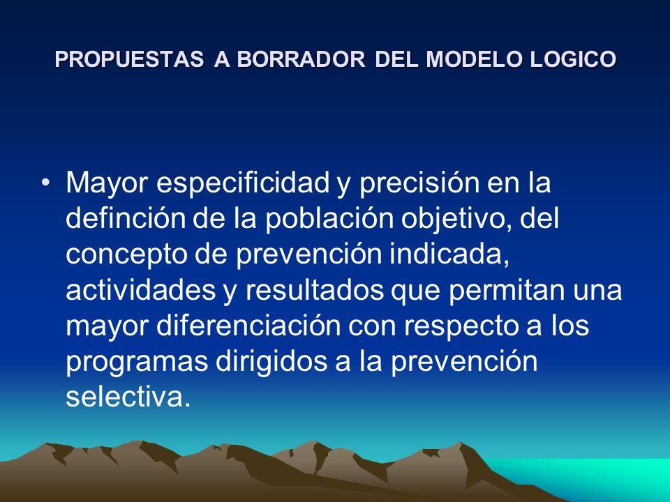 PROPUESTAS A BORRADOR DEL MODELO LOGICO Mayor especificidad y precisión en la definción de la población objetivo, del concepto de prevención indicada,