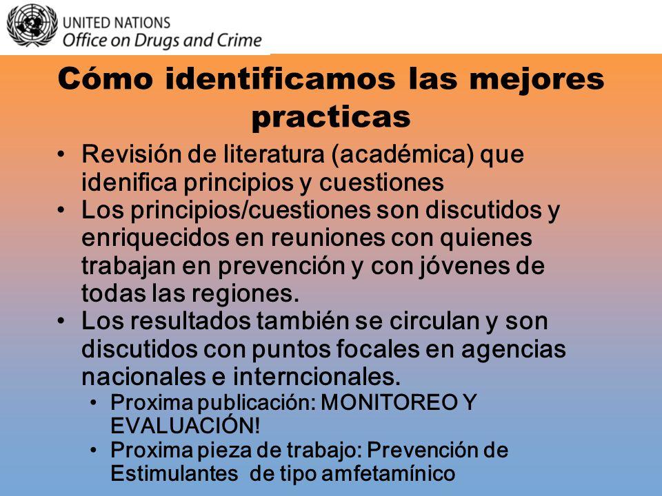 Cómo identificamos las mejores practicas Revisión de literatura (académica) que idenifica principios y cuestiones Los principios/cuestiones son discut