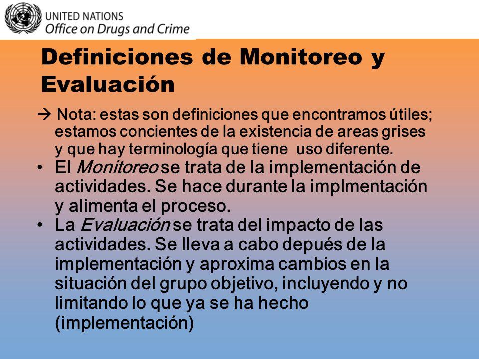 Definiciones de Monitoreo y Evaluación Nota: estas son definiciones que encontramos útiles; estamos concientes de la existencia de areas grises y que