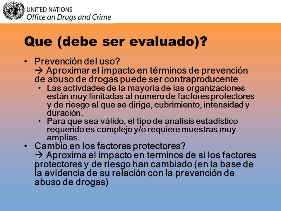 Que (debe ser evaluado)? Prevención del uso? Aproximar el impacto en términos de prevención de abuso de drogas puede ser contraproducente Las activdad