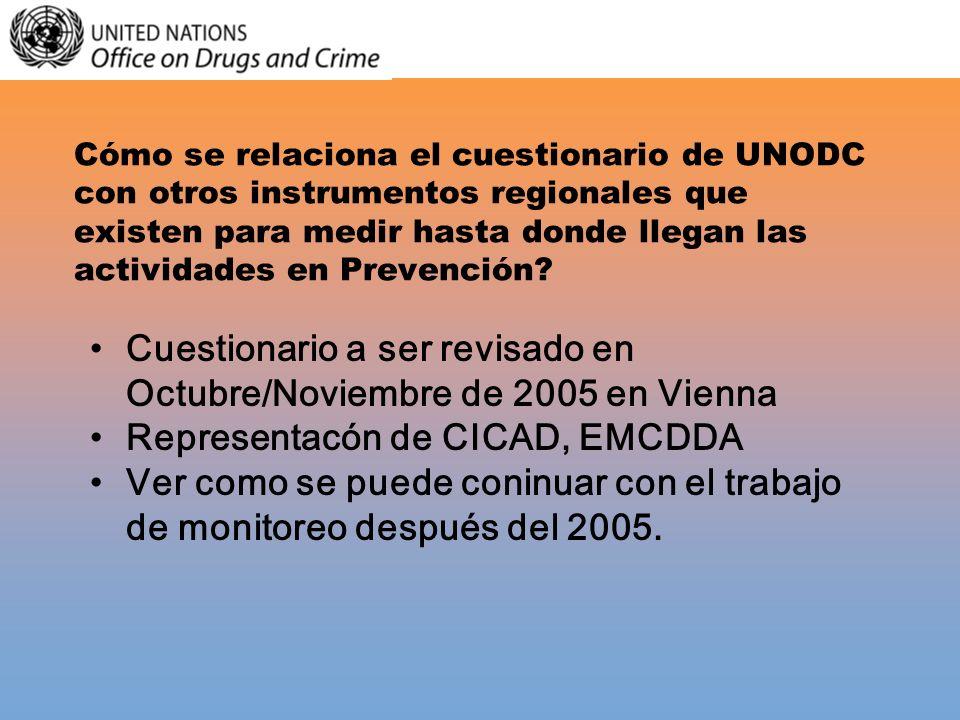 Cómo se relaciona el cuestionario de UNODC con otros instrumentos regionales que existen para medir hasta donde llegan las actividades en Prevención?