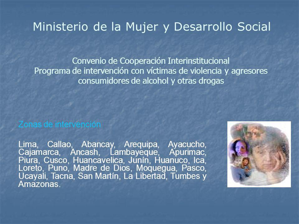 Convenio de Cooperación Interinstitucional Programa de intervención con víctimas de violencia y agresores consumidores de alcohol y otras drogas Zonas