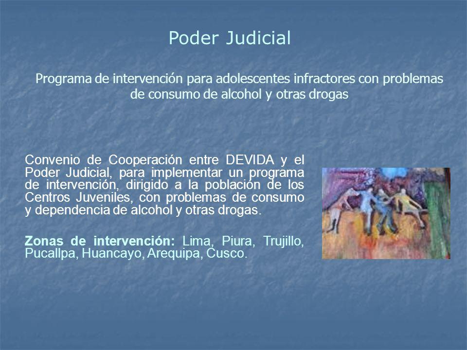 Programa de intervención para adolescentes infractores con problemas de consumo de alcohol y otras drogas Convenio de Cooperación entre DEVIDA y el Po