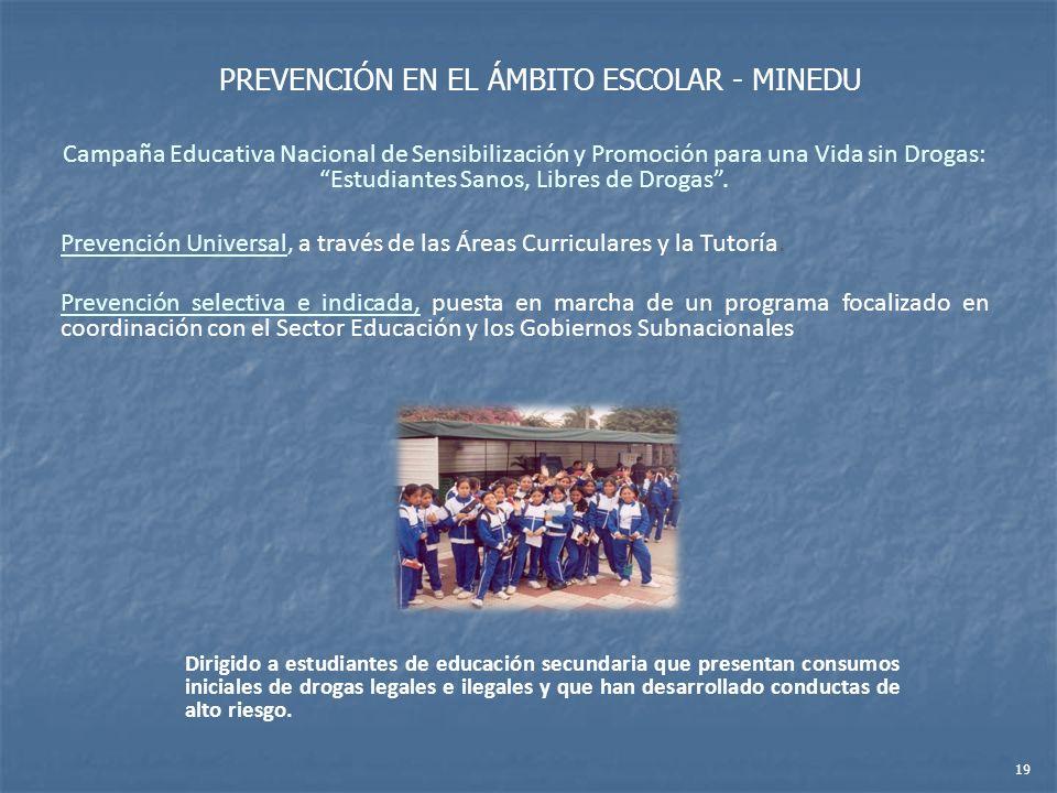 Campaña Educativa Nacional de Sensibilización y Promoción para una Vida sin Drogas: Estudiantes Sanos, Libres de Drogas. Prevención Universal, a travé
