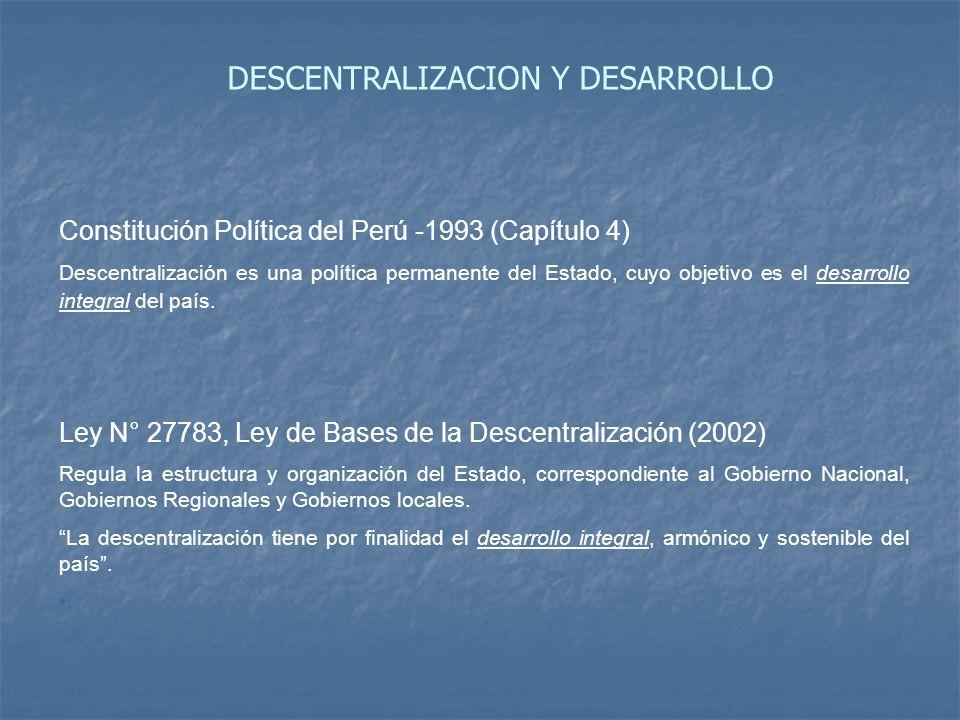 Constitución Política del Perú -1993 (Capítulo 4) Descentralización es una política permanente del Estado, cuyo objetivo es el desarrollo integral del