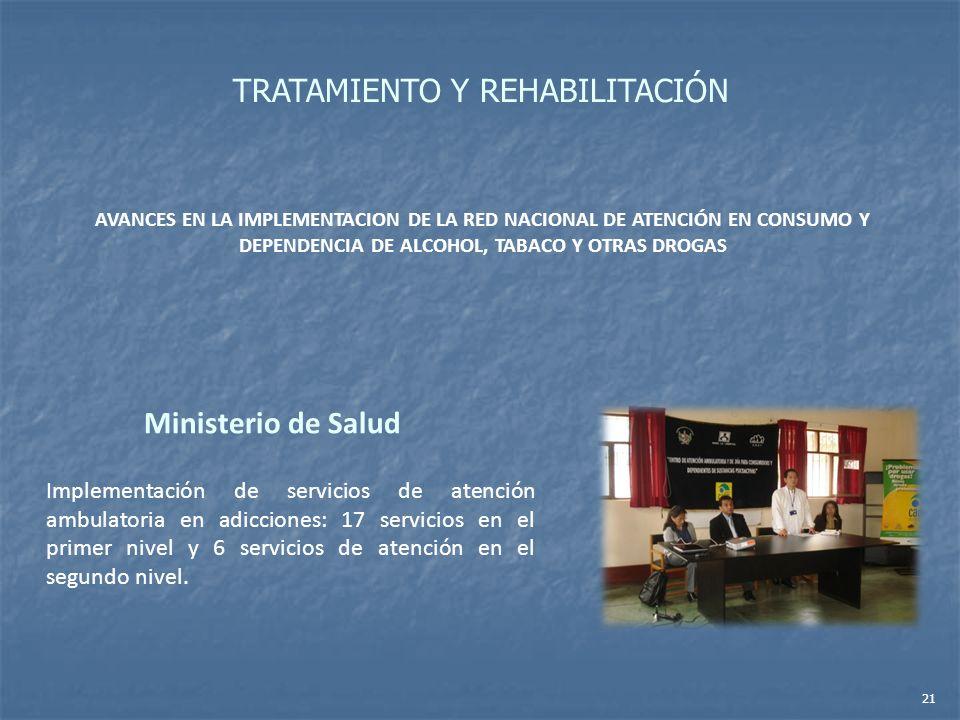 AVANCES EN LA IMPLEMENTACION DE LA RED NACIONAL DE ATENCIÓN EN CONSUMO Y DEPENDENCIA DE ALCOHOL, TABACO Y OTRAS DROGAS Ministerio de Salud Implementac