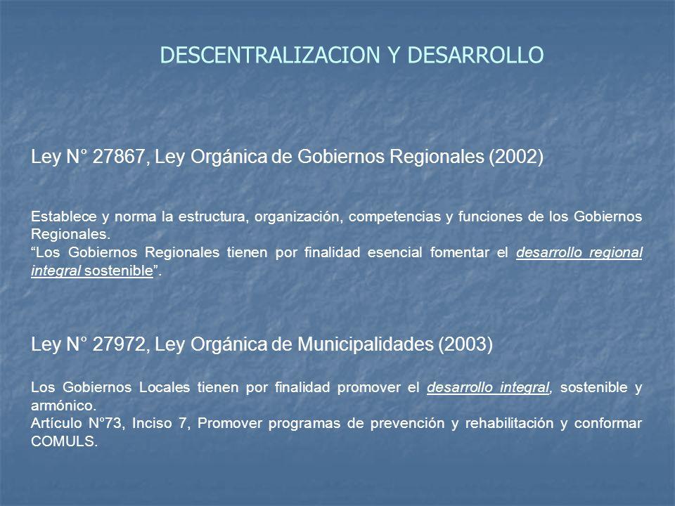 Ley N° 27867, Ley Orgánica de Gobiernos Regionales (2002) Establece y norma la estructura, organización, competencias y funciones de los Gobiernos Reg