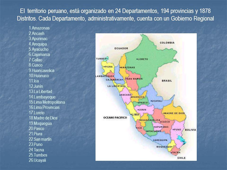 El territorio peruano, está organizado en 24 Departamentos, 194 provincias y 1878 Distritos. Cada Departamento, administrativamente, cuenta con un Gob