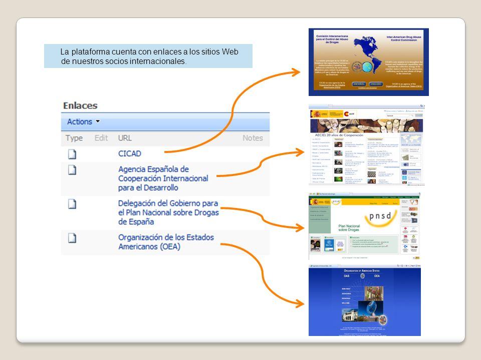 La plataforma cuenta con enlaces a los sitios Web de nuestros socios internacionales.