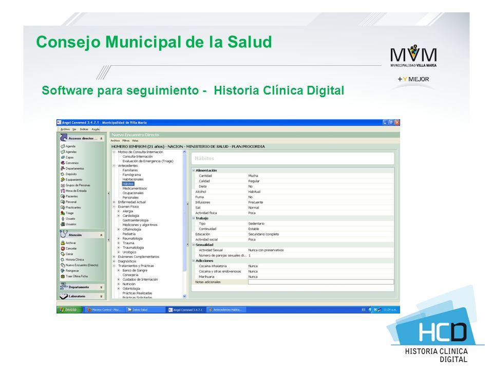 Consejo Municipal de la Salud Software para seguimiento - Historia Clínica Digital