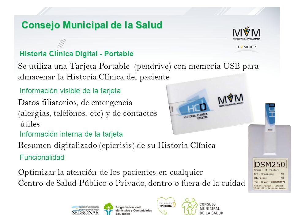 Se utiliza una Tarjeta Portable (pendrive) con memoria USB para almacenar la Historia Clínica del paciente Datos filiatorios, de emergencia (alergias,