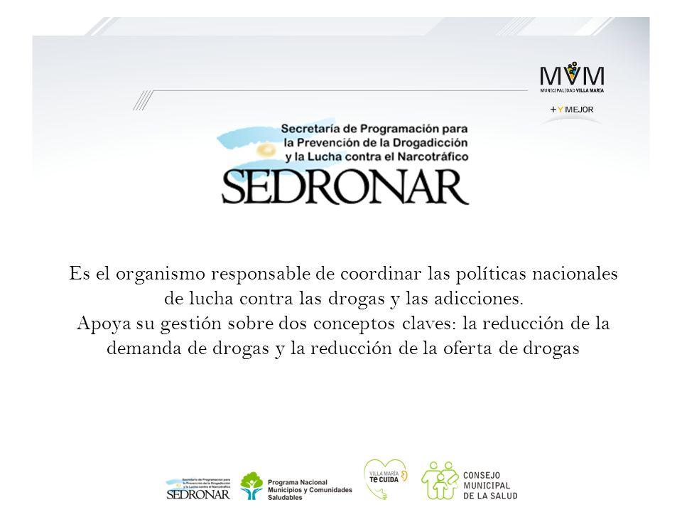 Es el organismo responsable de coordinar las políticas nacionales de lucha contra las drogas y las adicciones. Apoya su gestión sobre dos conceptos cl