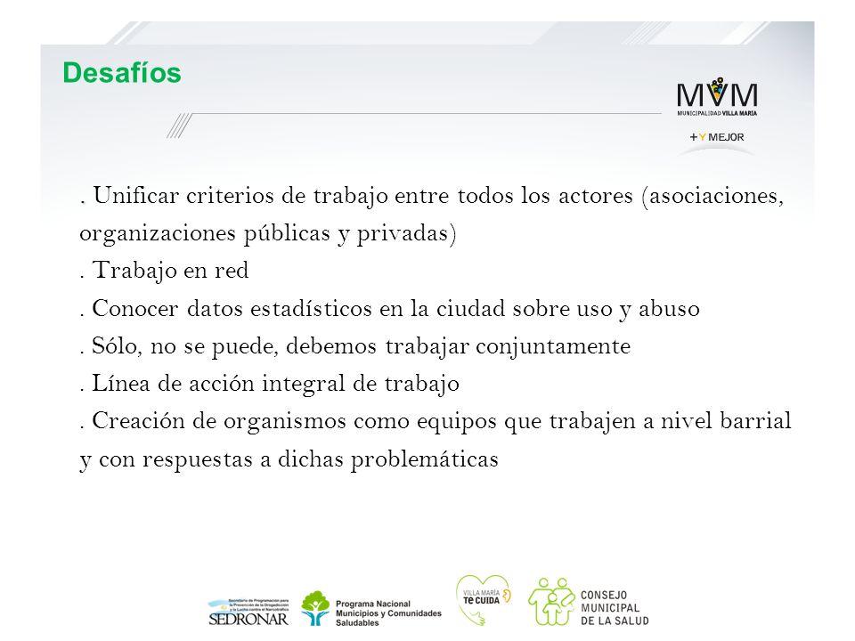 .. Unificar criterios de trabajo entre todos los actores (asociaciones, organizaciones públicas y privadas). Trabajo en red. Conocer datos estadístico